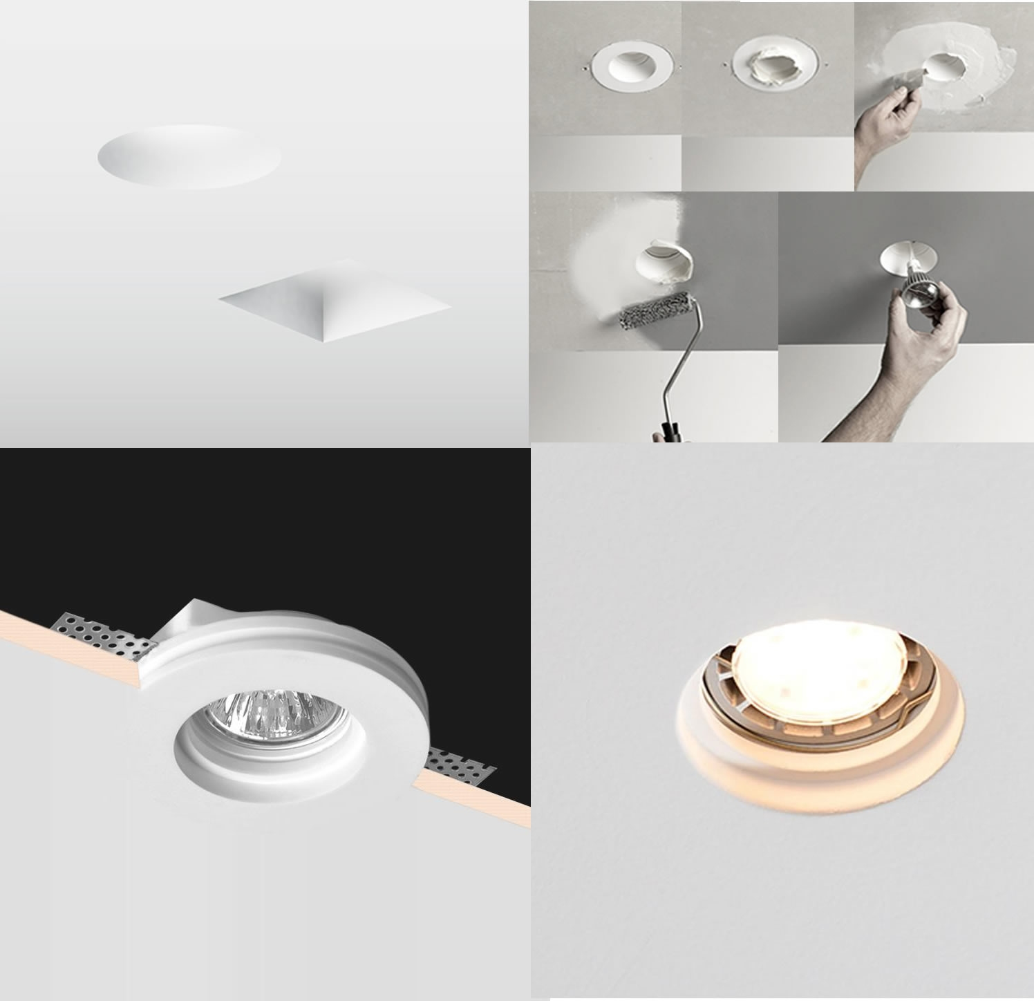 Trimless Inbouwspot GIPS - vierkant: Ø120x120x60mm