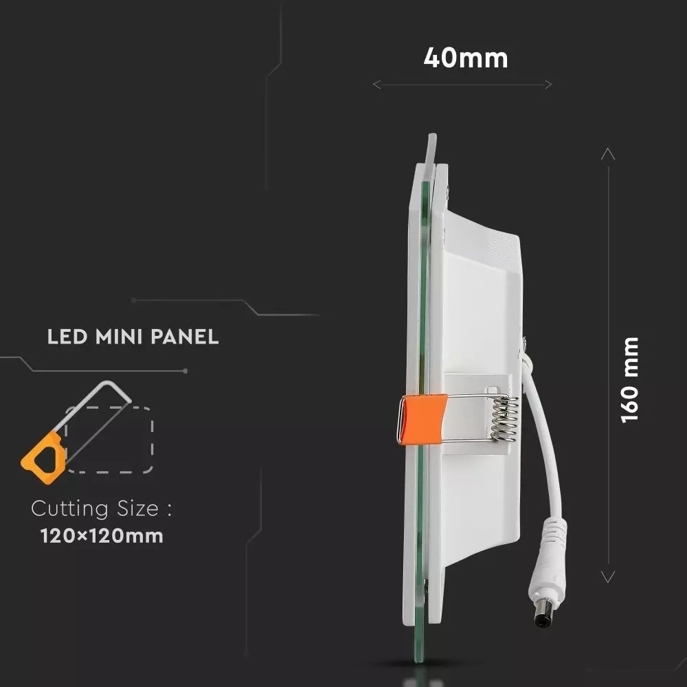 12W LED Panel Downlight Glas vierkant 3 in 1