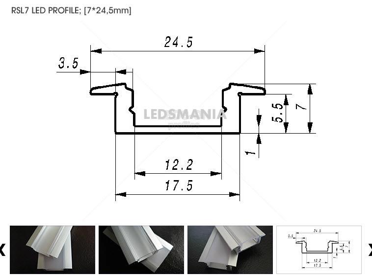 24,5 mm Led profiel SlimLine  inbouw / opbouw  200 cm