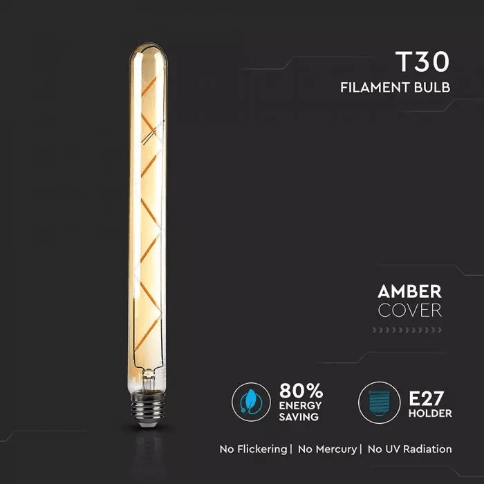 7W T30 LED FILAMENT BULB AMBER GLASS 2200K E27