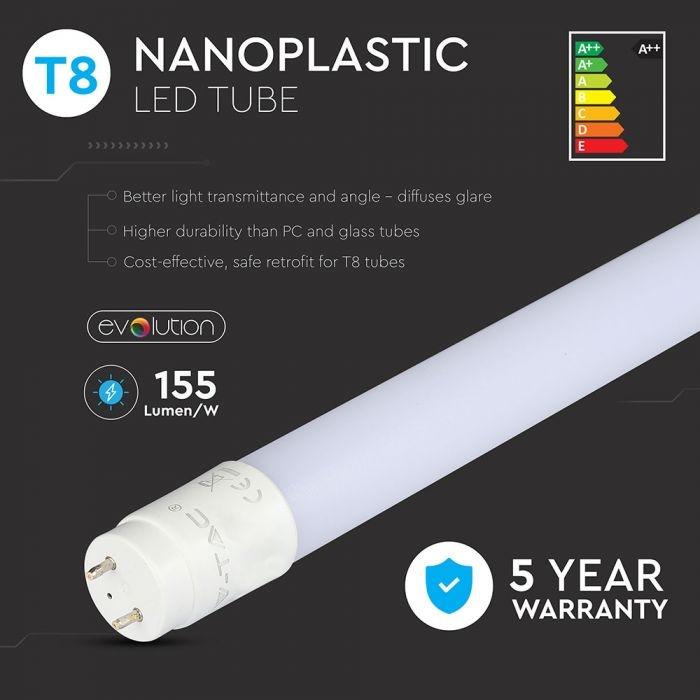 A++ 12W T8 LED NANO PLASTIC - 4000K G13 160LM/W