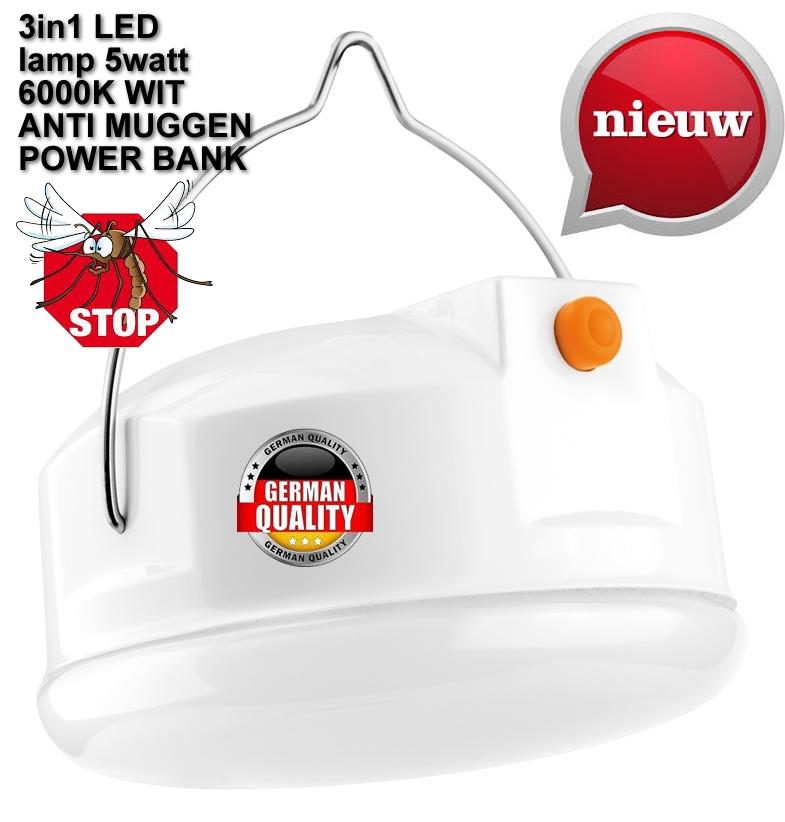 anti-insecten lamp 3 in 1 LED lamp - 5W oplaadbaar NIEUW