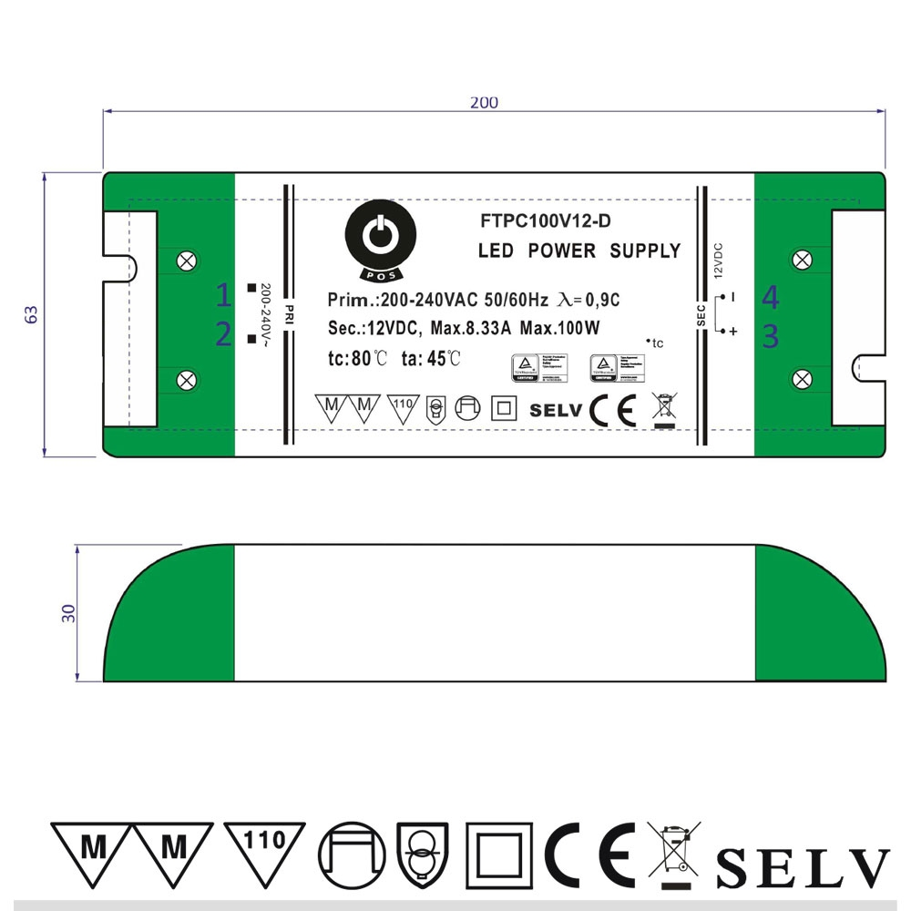 FTPC 100W, 12V CV Triac Dimmable LED Driver