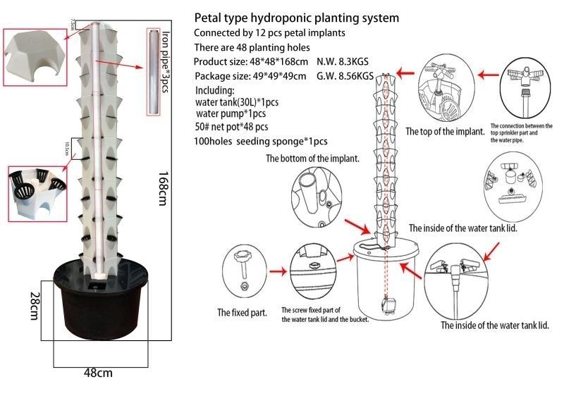 Hydrocultuur / Hydroponic kweek set - Tower met 48 plaatsen