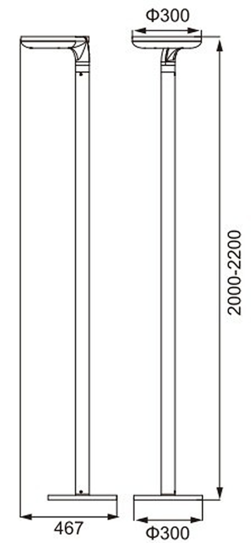 LANGBO ringvormige lantaarnpaal met 30W Cree led