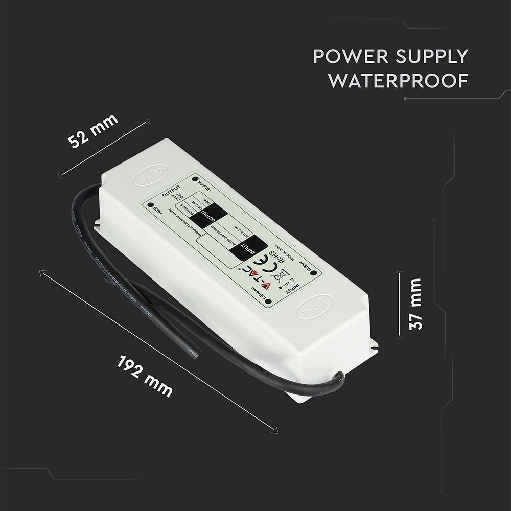 LED Omvormer 60W SLIM 12V 4,6 A - IP67 waterdicht