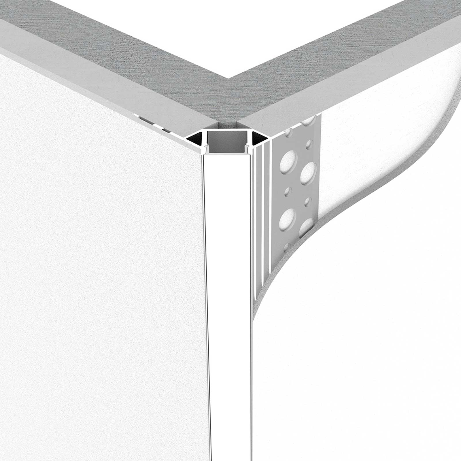 LED stucprofiel / Gips profiel  - BUITENHOEK 9 mm