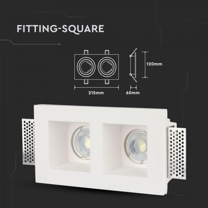 Trimless Inbouwspot GIPS 2x1 vierkant -Ø215x120x60mm