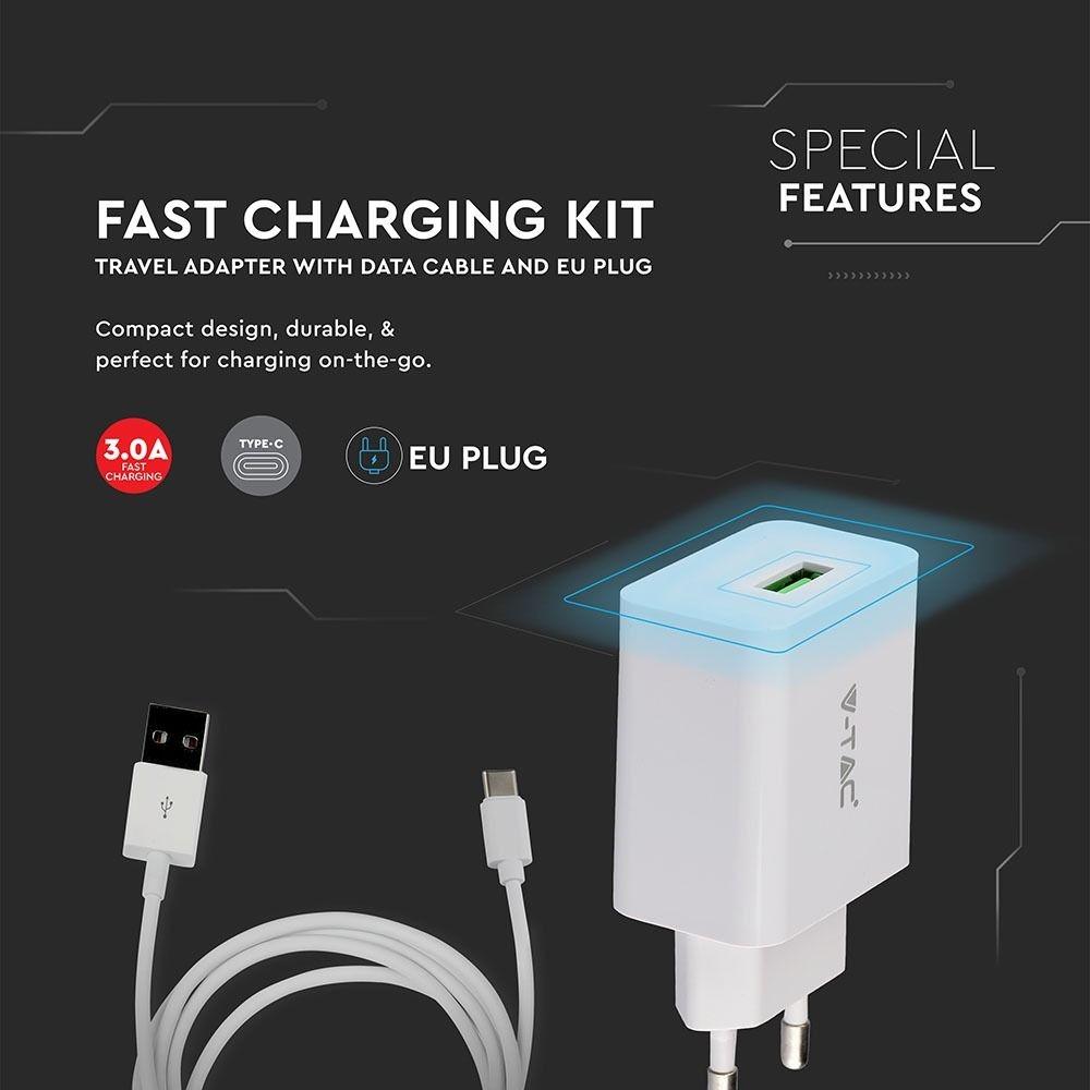 VT-5382 Snel Oplader met USB C kabel - 3,0 Ampere - Wit