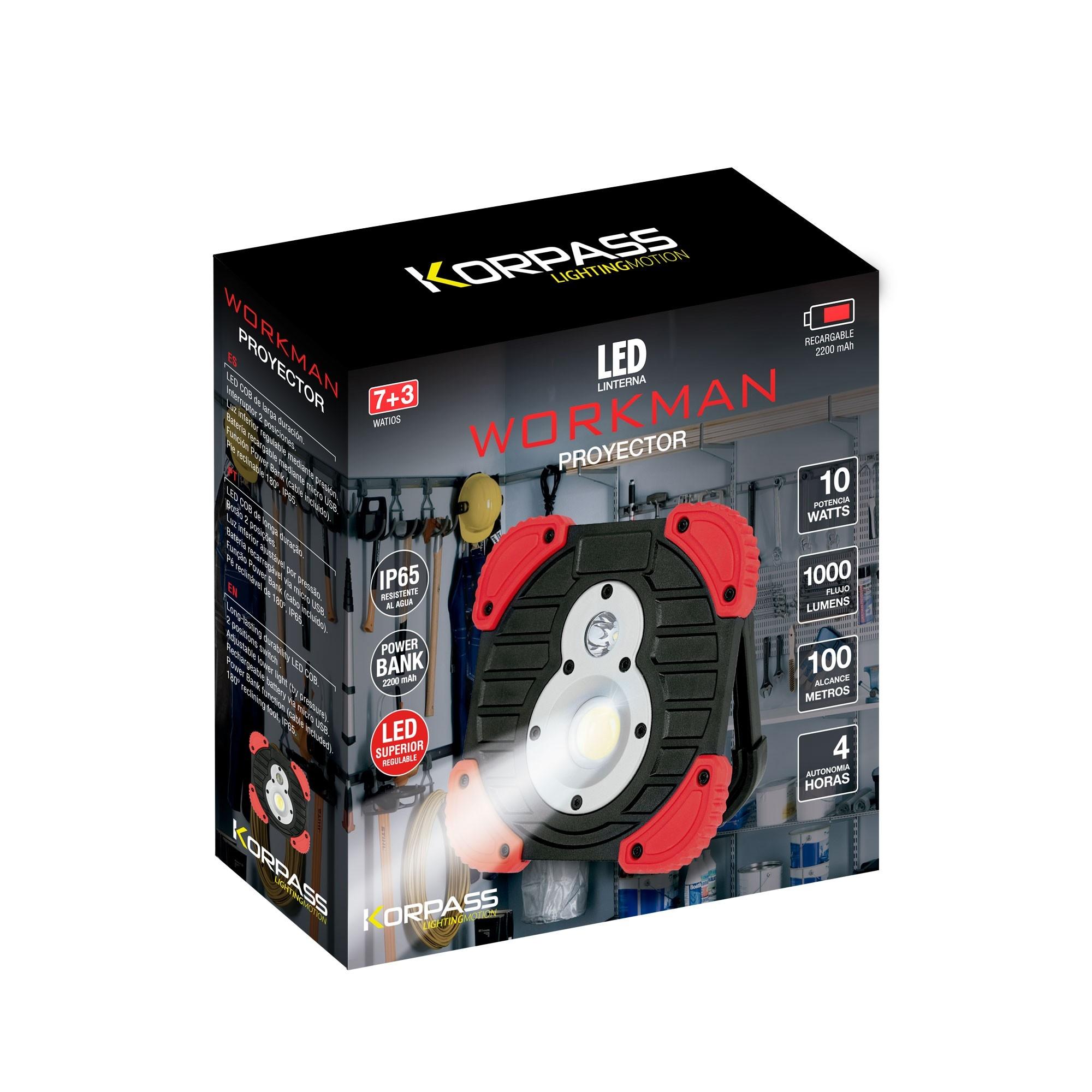 Werklamp KORPASS 10W 1000LM - 3 standen